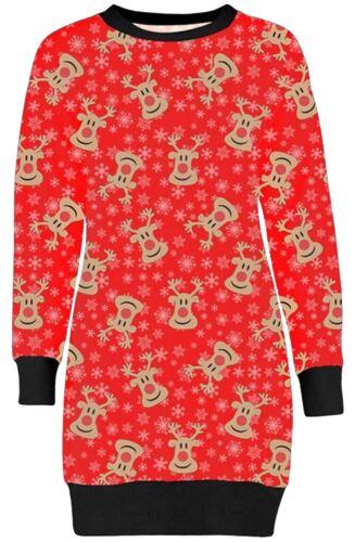 New Womens Christmas Reindeer Printed Thermal Novelty Sweatshirt Jumpers 8-22
