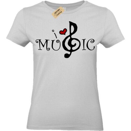 I LOVE Coeur Musique T-Shirt cadeau pour femme Femmes Top