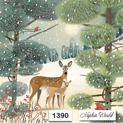 TWO Individual Paper LUNCHEON Decoupage Napkins 1784 DEER WOODS FOREST TREES
