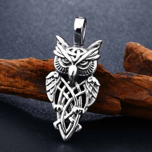 """Vintage Viking Stainless Steel Owl Pendant Necklace Free 24/"""" Chain"""