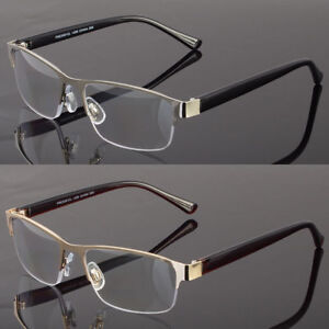 cecd8d516a Image is loading Metal-Square-Frame-Reading-Glasses-No-Line-Progressive-