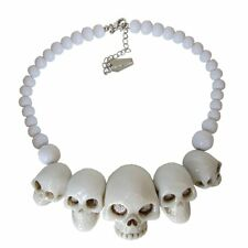 New Kreepsville 666 Skull Collection Necklace White Gothic