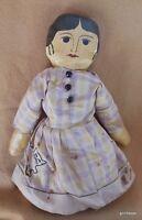 "Hand Made  Primitive Folk Art Doll Cloth 15"" Girl Vintage"