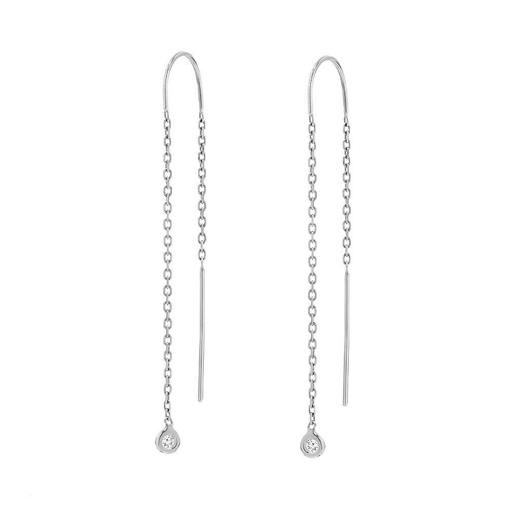 Diamond Dangle Earrings 0.10 ct 14k White gold Cute Chain Earring Gift Jewelry
