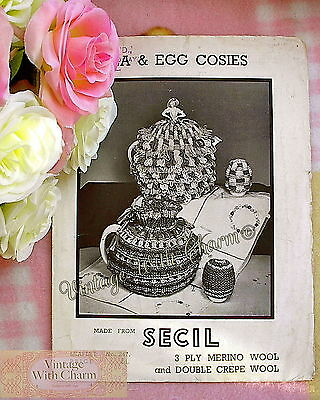 Vintage 1920s Knitting Pattern Tea Cosy & Egg Cosies, 2 ...