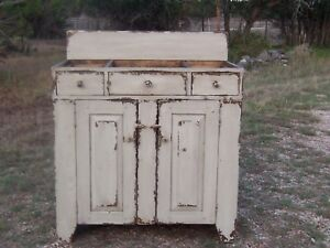 Image Is Loading Primitive Washstand Bathroom Vanity Wash Stand Country Painted