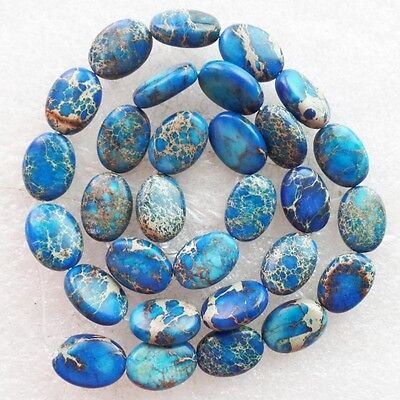 F0021053 Beautiful Blue Sea Sediment Jasper Oval loose bead 15.5 inch