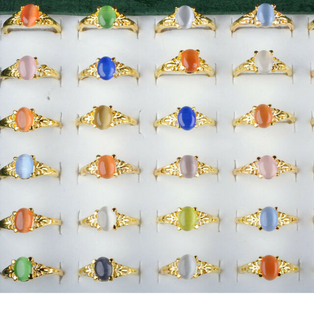 Wholesale Lots 20pcs Mixed Color Women Faux Gem Stone Gold Plated Rings Jewelry