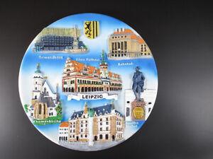 Leipzig-Thomaskirche-Goethe-Rathaus-Souvenir-Wandteller-Germany-19-5cm-NEU