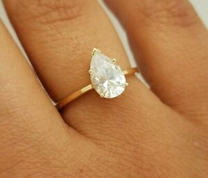 1ct Pear-Cut Diamond Solitaire Engagement Wedding Ring in Solid 14K White Gold