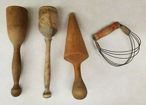 Antique-Primitive-Wooden-Kitchen-Utensils-Mashers-amp-Androck-Pastry-Cutter