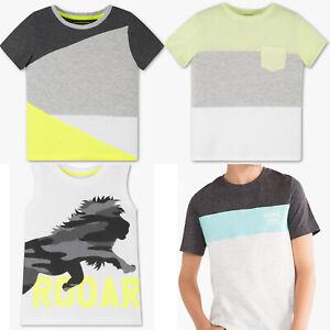 Jungen-Top-T-Shirt-Kurzarmig-Leon-Neon-Gelb-100-Baumwolle-Bio-Baumwolle