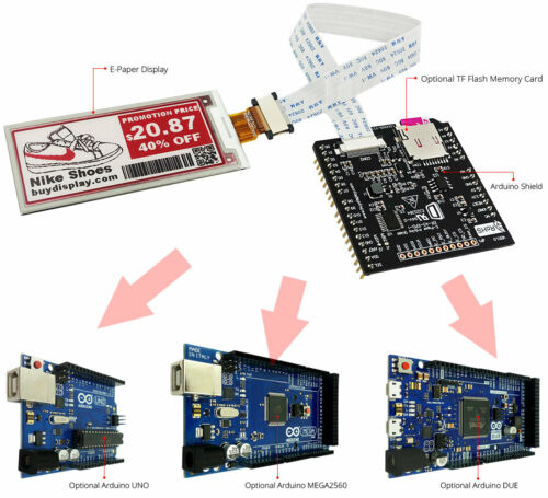 Red 2.9 inch e-Ink//e-Paper Display Panel w//Arduino Shield,Library 296x128