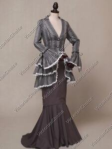 Victorian Gothic Bustle Riding Habit Gown Dress Theater Steampunk Clothing 139