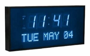 Large Digital Wall Clock Bright Blue LED Letter Day Date Time Easy