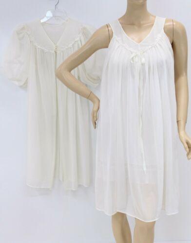 Mode O Day Nightgown Peignoir Boudoir set White ch