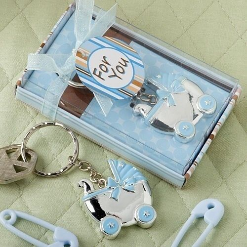 40 Blau Carriage Strollers Keychain Baby Boy Shower Birthday Party Favors