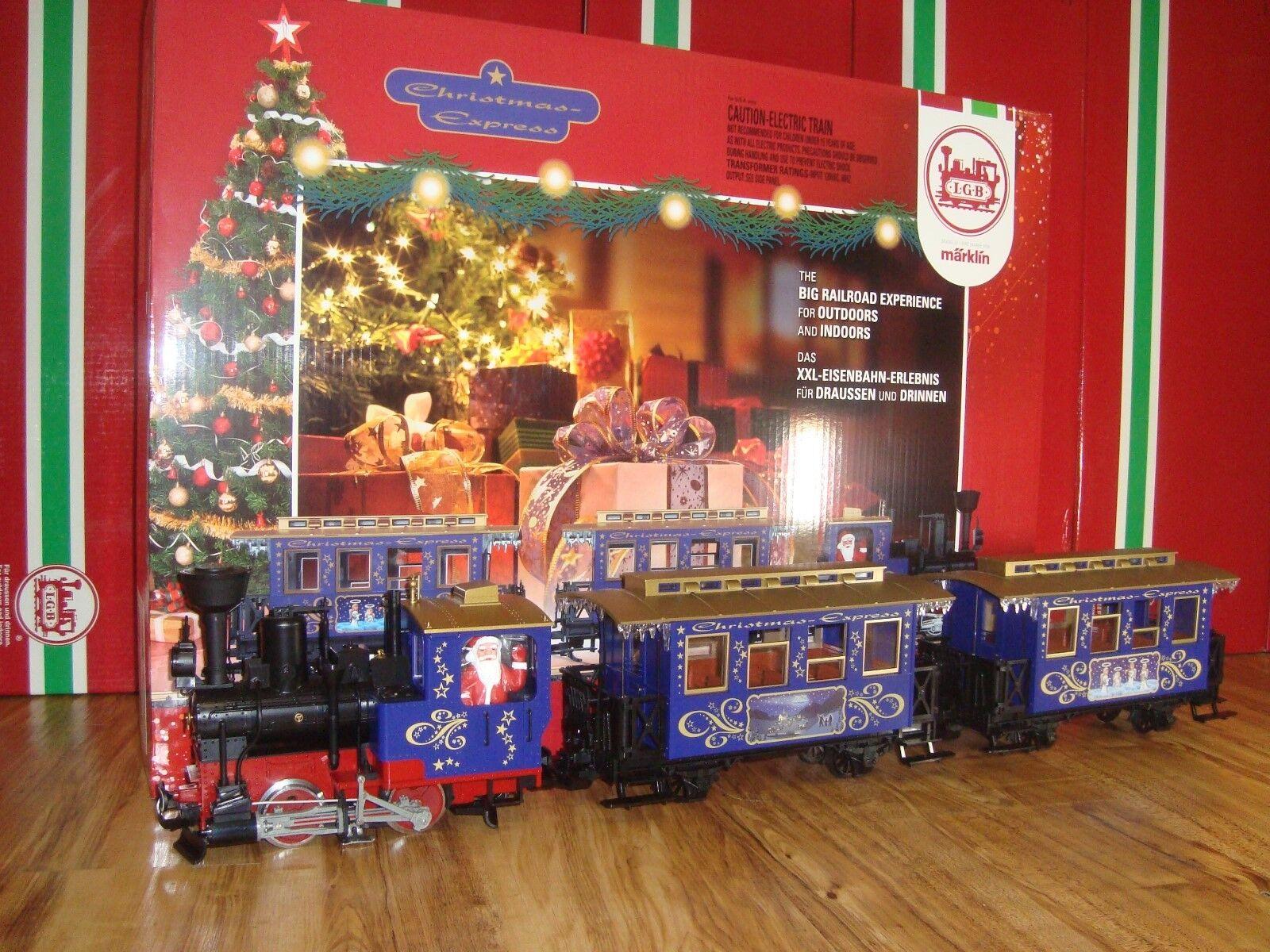 LGB 72305 blu tren de pasajeros de Navidad Conjunto de 3 piezas nuevas en caja sin dar seguimiento y Transformador