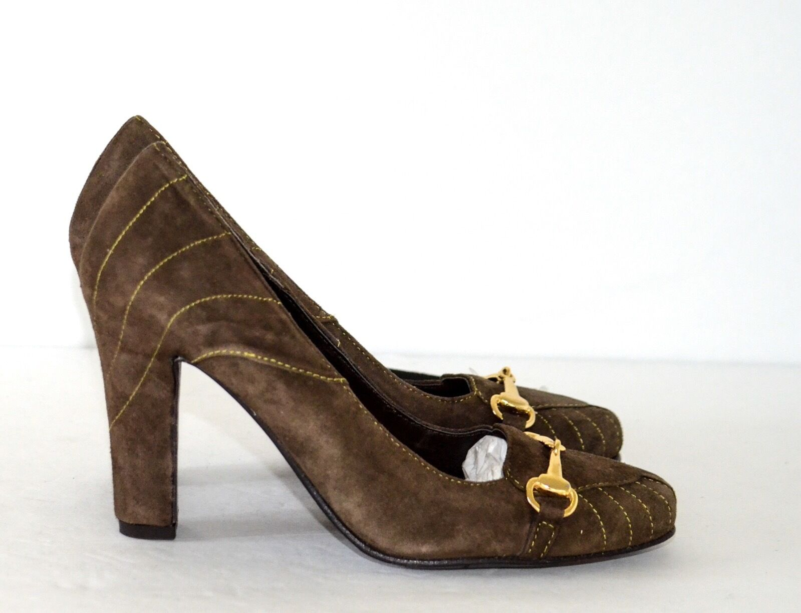 Sisley Donna's Nubuck Olive giallo Stitching Horsesbit  Pumps scarpe   Horsesbit 31ce7d