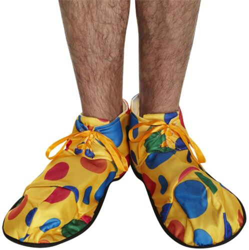 Unisex Yellow Polka Dot Clown Shoes Adult Fancy Dress Circus Party Wear Shoes