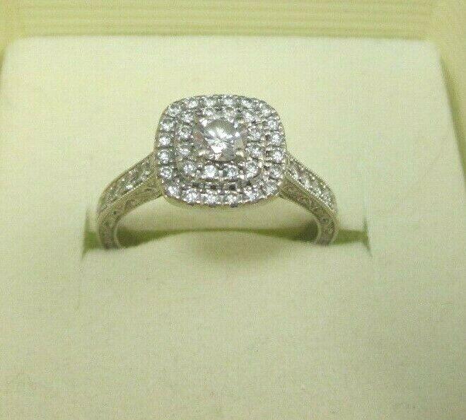 LADIES 14K WHITE gold DIAMOND NEIL LANE DOUBLE HALO ENGAGEMENT RING 7 8CT., 4.7G