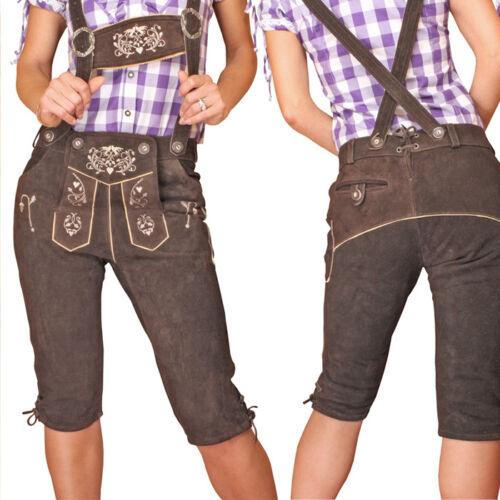 Lederhose da Donna Ginocchio Pantaloni Federale Marrone Trachten leather trousers kndt 1