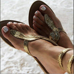 Women-039-s-Snake-Flats-Sandals-Summer-Flip-Flops-Casual-Slippers-Beach-Shoes-Size
