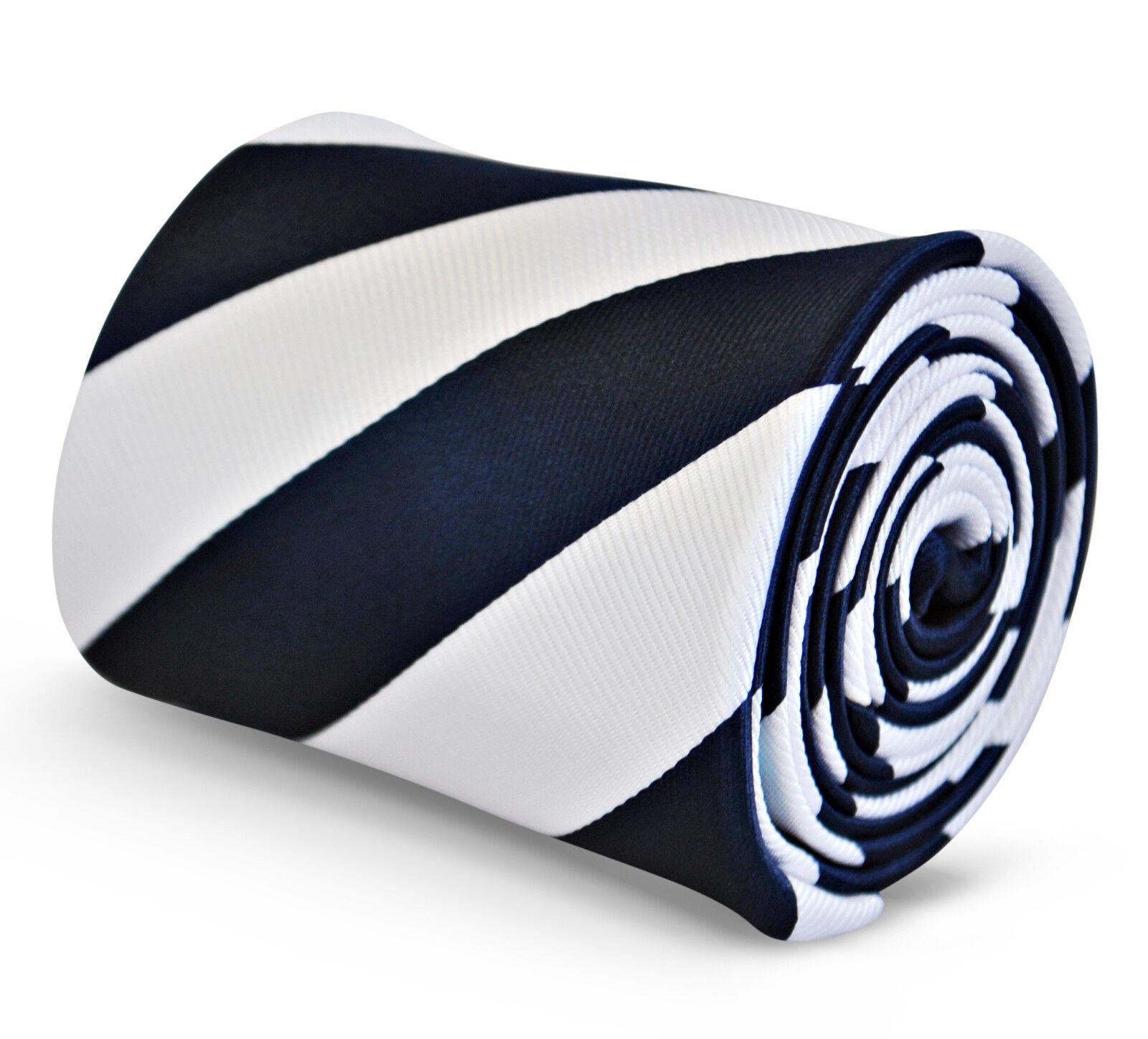 Frederick Thomas Designer Herren Krawatte - Dunkel Marineblau & Weiß - Repp Club