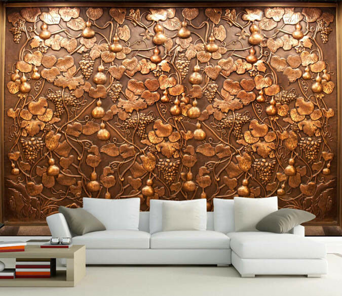 3D Gourd Gold 467 Wallpaper Murals Wall Print Wallpaper Mural AJ WALL AU Lemon