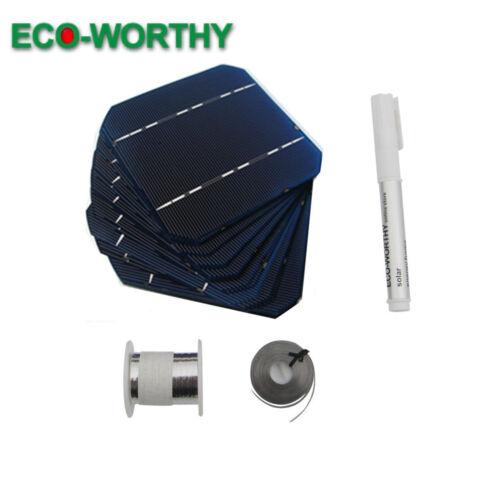 DIY 100W Panel 40pcs High Power 5x5 Mono Solar Cells Kit w// Tab Bus Wire Flux dd