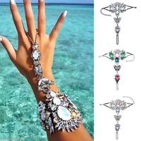 Crystal Rhinestone Slave Bracelet Bangle Finger Ring Harness Hand Chain Jewelry