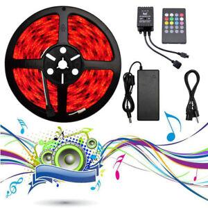5M-RGB-5050-LED-Strip-Band-Leiste-Streifen-Schlauch-Musik-Sound-Sensor-12V-Trafo