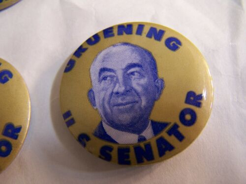 1968 Ernest Gruening Alaska political button Off center cello. US Senate