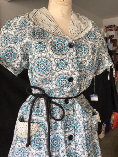 Vintage 1940s 40s 1950s 50s Dead Stock House Dress