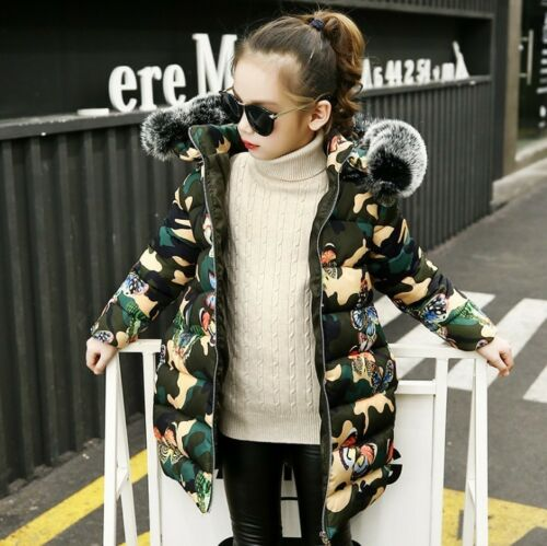 Kids Girls Warm Coat Camouflage Padded Jacket Hooded Down Cotton Parka Overwear