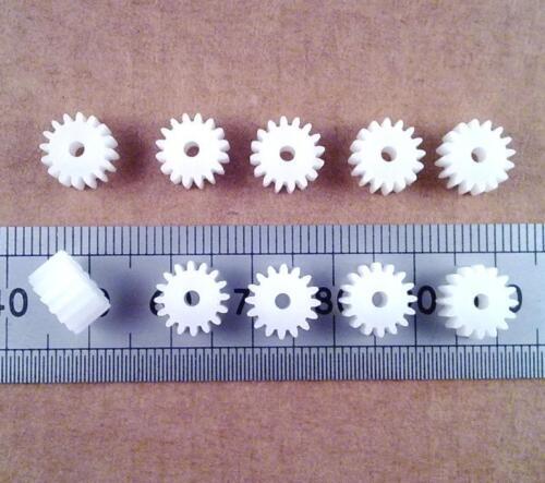16 Dientes Rueda de Engranaje Engranaje De Plástico 9mm para 2mm Modelo eje del motor Cantidad 10 FF