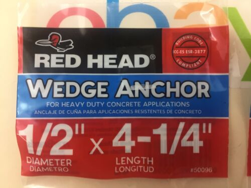 """LOT OF 3 1//2/"""" x 4-1//4/"""" Wedge Concrete Anchor RAMSET RED HEAD 50096"""