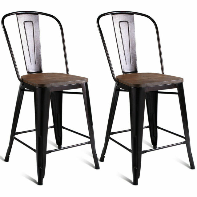 Fine Copper Set Of 2 Metal Wood Counter Stool Kitchen Dining Bar Chairs Rustic New Creativecarmelina Interior Chair Design Creativecarmelinacom