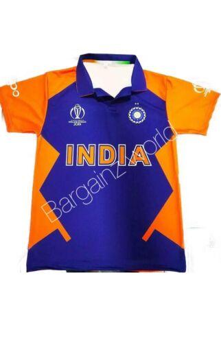 New Indian Team Orange Jersey Cricket India T shirt World Cup 2019 Kohli Rohit .