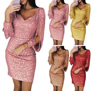 Womens-Bodycon-V-Neck-Sequins-Long-Sleeve-Tassel-Slim-Party-Cocktail-Skirt-Dress