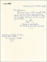 KATAY D. SASOUTH - MANUSCRIPT LETTER SIGNED 10/02/1987