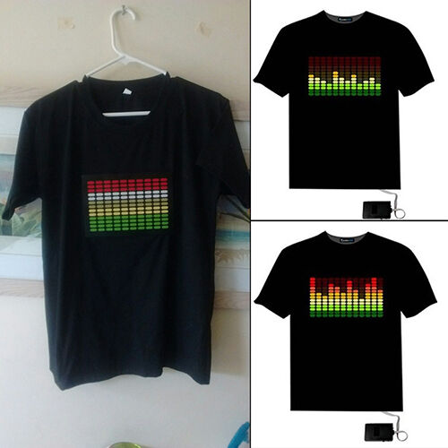 Sound Activated Light Up Flashing Rock Disco Equalizer LED T-Shirt Top Fashion Clothing, Shoes & Accessories