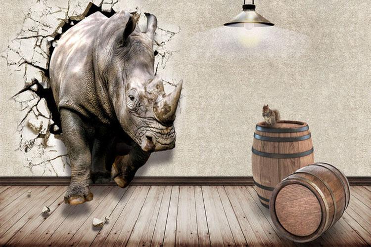 100% price guarantee Rhino Break Thru 3D Full Wall Mural