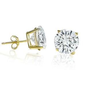 0623d0bd6 14K Solid Yellow Gold Round CZ Stud Earrings Basket Setting sizes ...