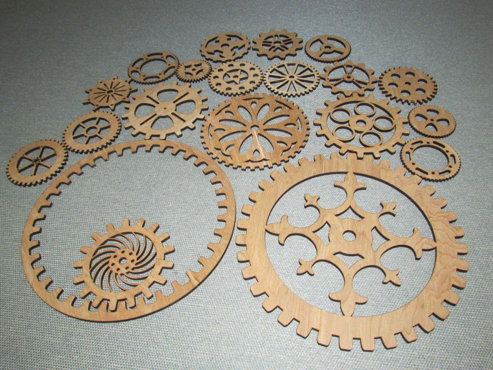 Gears Lot 3, 20 Various Größes & Styles of Wood Wooden Steampunk Wall Art Decor
