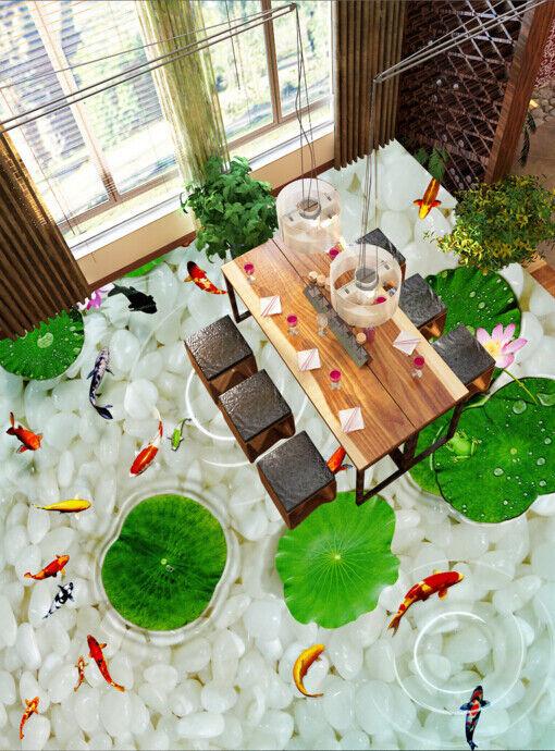 3D Green Lotus Fish 440 Floor WallPaper Murals Wall Print Decal AJ WALLPAPER CA