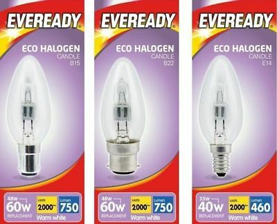 SBC SES ES Eveready Candle Halogen Opal // Clear Lamps 25W // 40W // 60W BC