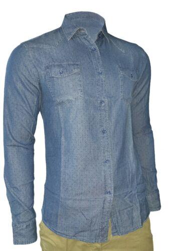 Camicia Uomo Di Jeans Colletto Classico Slim Denim Nuova S M L XL XXL  MOD 056