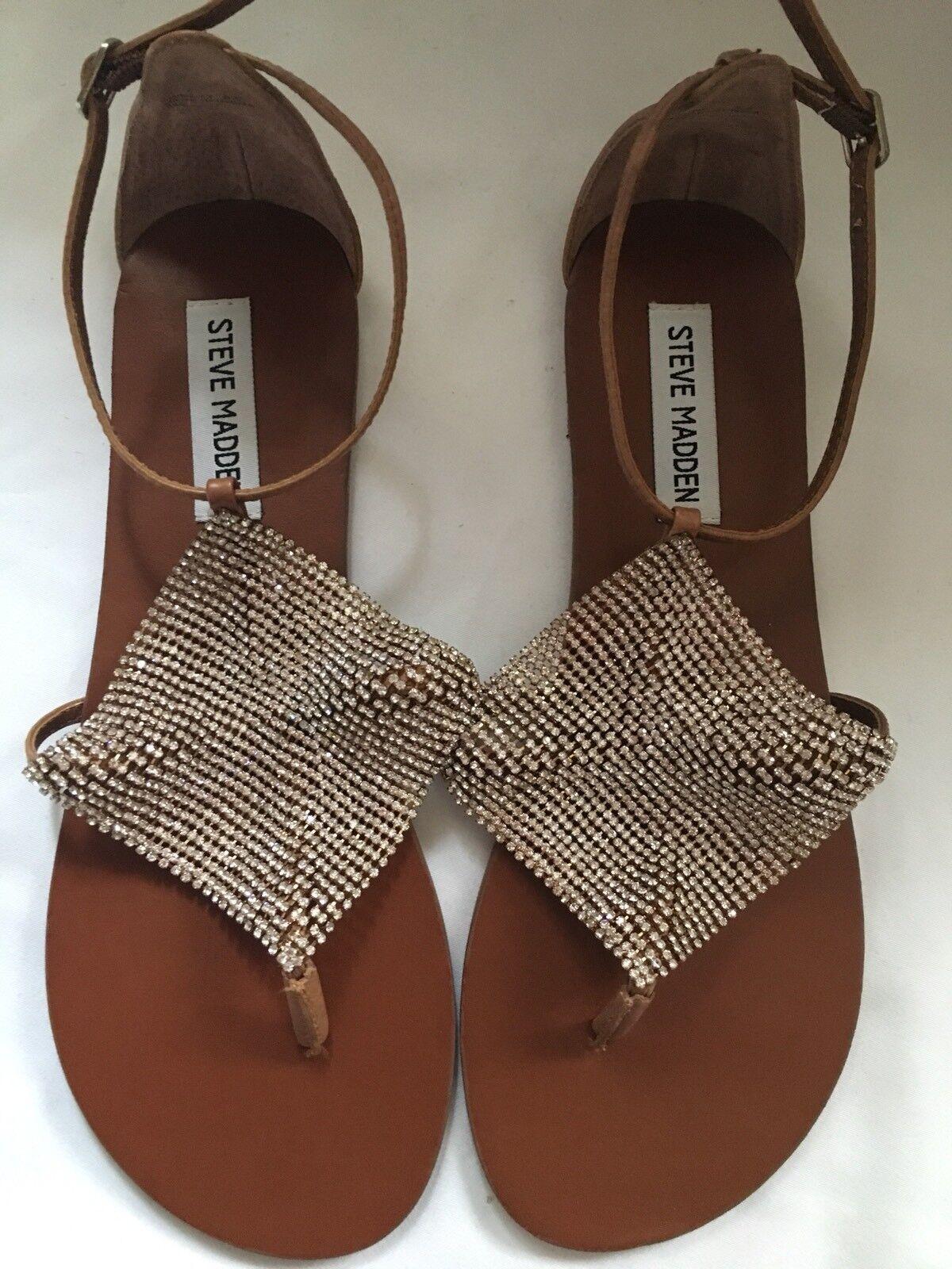 Steve Madden femmes UK 6(39) marron Diamante Flat Sandals  Brand New