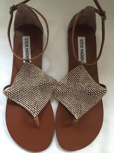 dc62ab549b81 Steve Madden Womens UK 6(39) Brown Diamante Flat Sandals Brand New ...